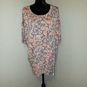 LulaRoe Gray & Coral Floral Tunic Sz XL NWOT!!